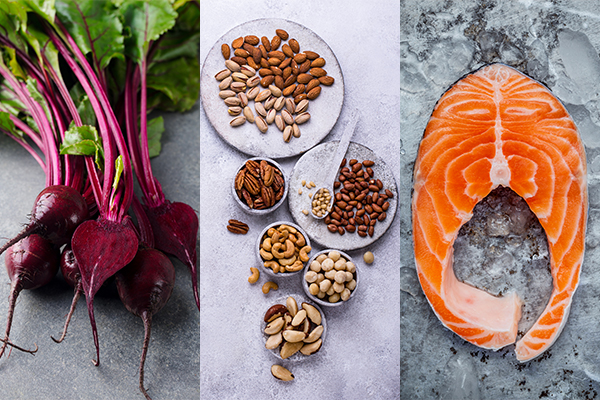 beetroot, nuts, and fatty fish benefit the liver