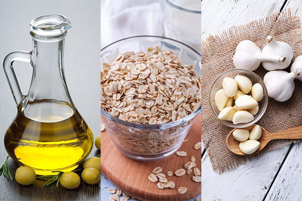 olive oil, oatmeal, and garlic are beneficial for liver health