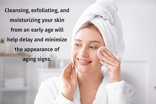 follow a good skin care routine to prevent premature aging