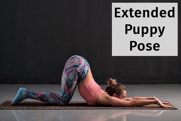 extended puppy pose for relieving anxiety