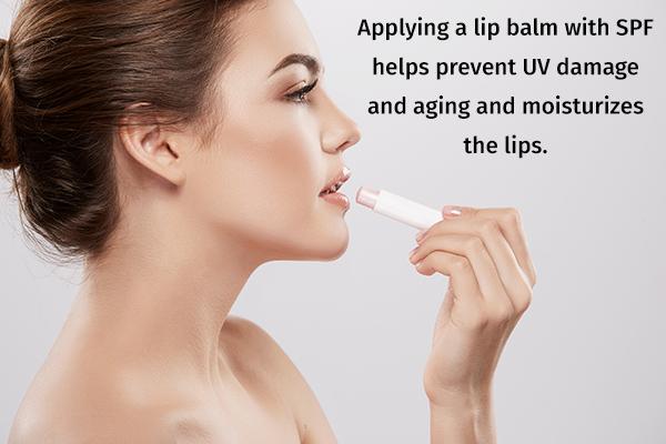 apply SPF containing lip balms to moisturize them