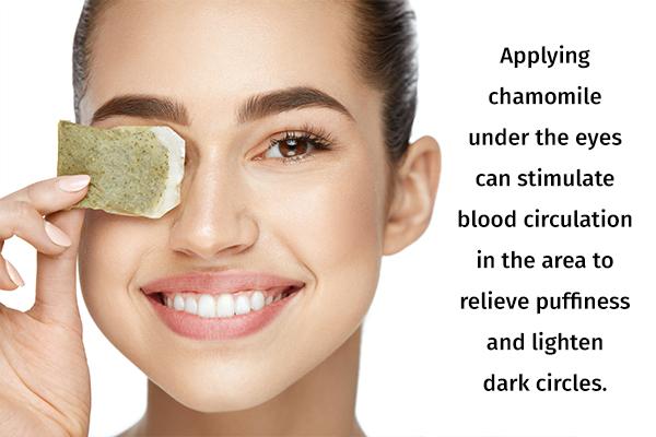 chamomile usage can help lighten dark circles