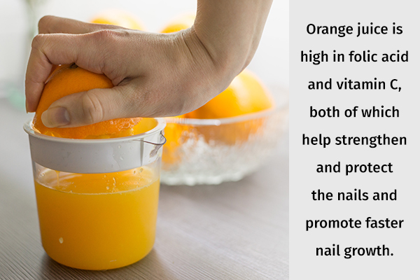 orange juice can help promote faster nail growth