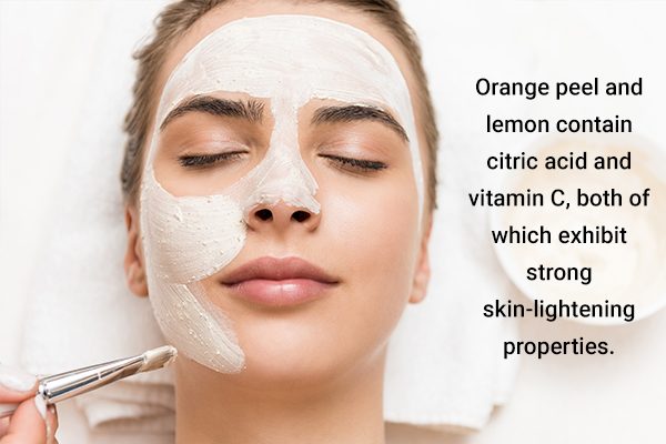 orange peel, lemon, and cream can help detan your skin