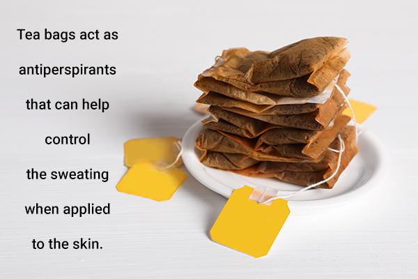 use moist tea bags to control sweaty hands