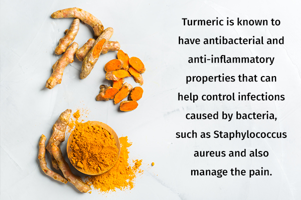 turmeric can help soothe boils on skin