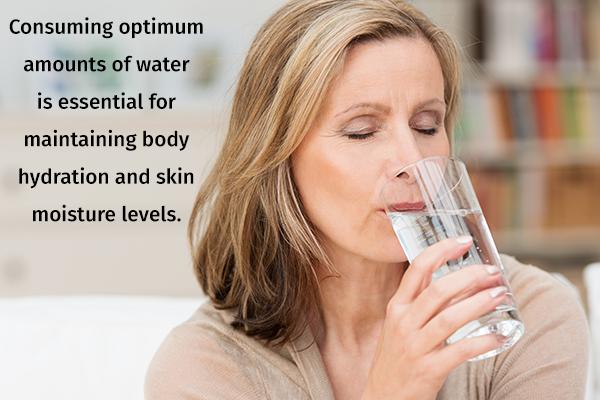 drink plenty of water to prevent skin wrinkles