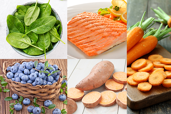 eat spinach, salmon, carrot, etc. for healthy eyes