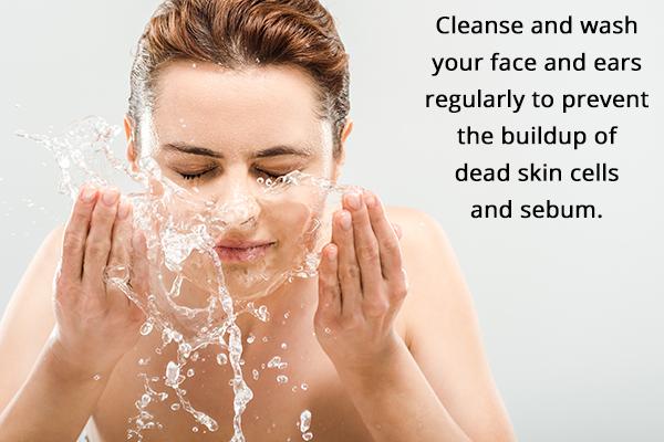 maintain good skin hygiene to avoid ear pimples