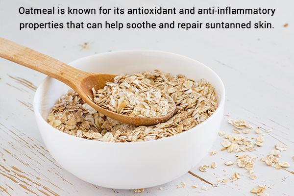 oatmeal can help repair suntanned skin