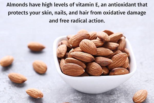 almonds can help protect your skin, hair, and nails from damage