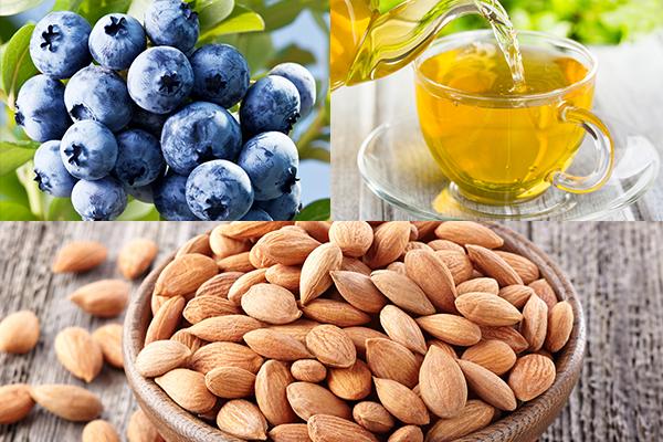 blueberries, green tea, almonds help reduce stress