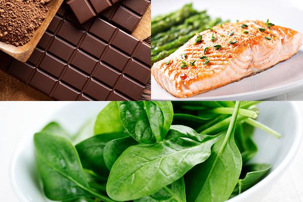 dark chocolate, salmon, spinach can help relieve stress