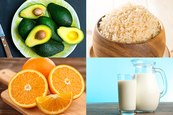 avocados, brown rice, oranges, and milk can help relieve stress