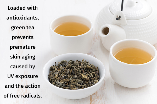 green tea provides added benefits for the skin, hair, and nails